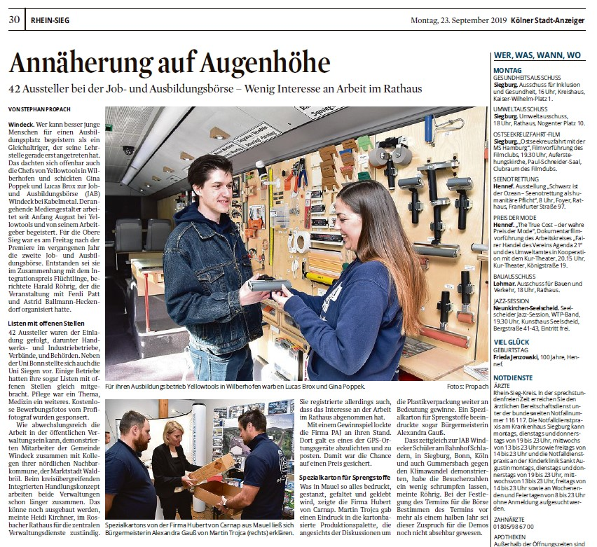 Zeitungsartikel im Köllner Stadtanzeiger zur Job und Ausbildungsbörse 2019 in Windeck